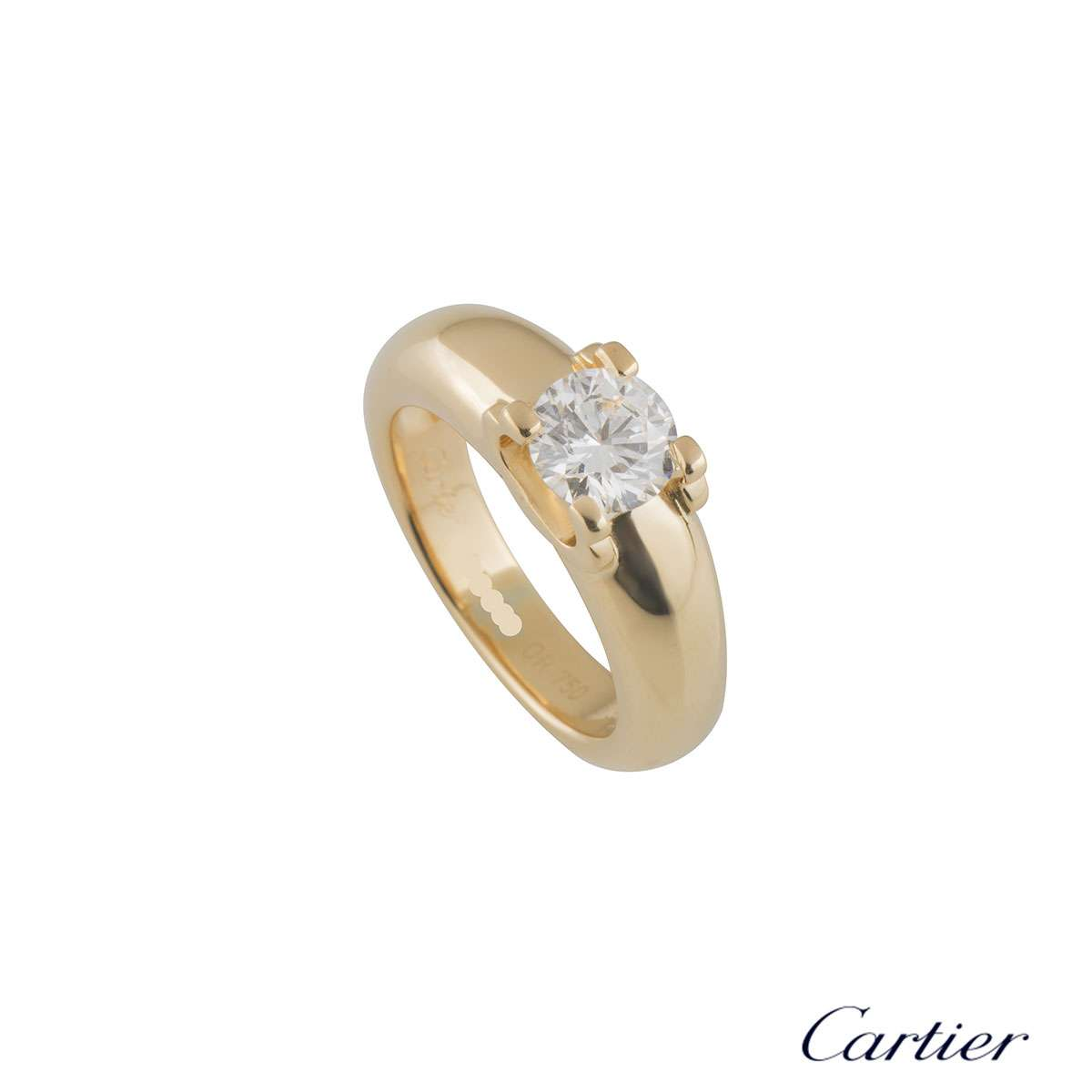Yellow Gold C De Cartier Diamond Engagement Ring 1.01ct G/VVS2